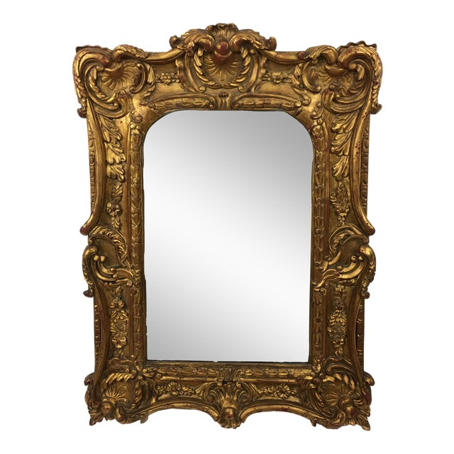 20th Century Italian Ornate Gilt Detailed Mirror For Sale