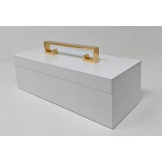 White Enamel Finish Decorative Box With Gold Handle Preview