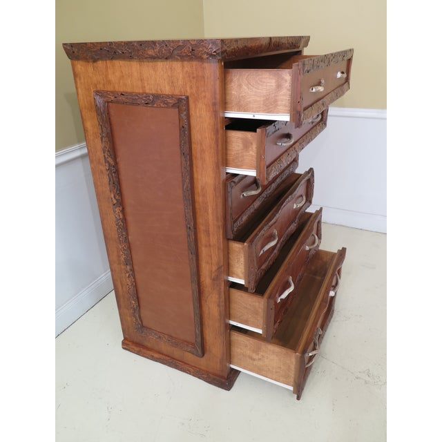 1990s Adirondack Style 6 Drawer High Chest For Sale - Image 10 of 12