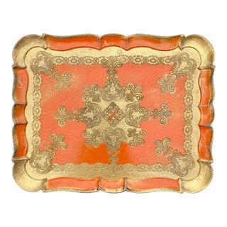 Vintage Italian Florentine Orange and Gold Gilt Tray For Sale