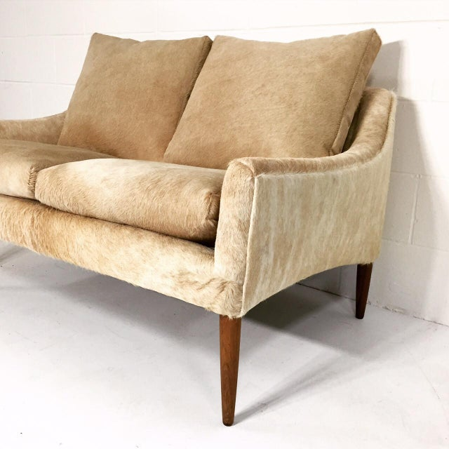 African Forsyth One of a Kind Danish Loveseat in Brazilian Cowhide For Sale - Image 3 of 7