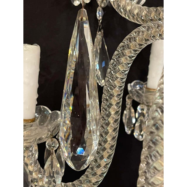 Fine Cut Crystal Venetian Style Chandelier For Sale - Image 11 of 13