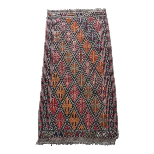 Handwoven Turkish Kilim Rug Pastel Colors Area Rug Petite Braided Kilim For Sale