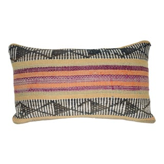 Vintage Turkish Lumbar Pillow Cover, Ethnic Tribal Kilim Pillow 12'' X 20'' (30 X 50 Cm) For Sale