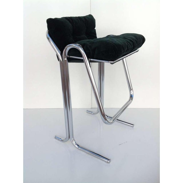Jerry Johnson Plush Green & Chrome Bar Stools Designed by Jerry Johnson - Set of 3 For Sale - Image 4 of 9