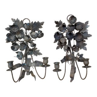 Pair 19th Century French Wrought Iron Wall Sconces For Sale