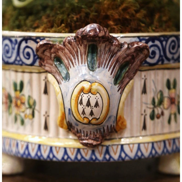 19th Century French Hand Painted Faience Jardinière Signed Hb Quimper For Sale - Image 10 of 13
