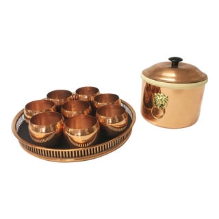 Vintage Copper Roly-Poly Barware Set For Sale