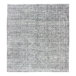 Creams, Ivory, Light Yellow, and Charcoal Modern Distressed Rug For Sale