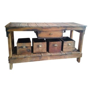 1970s Rustic Wooden Table With 4 Cubbies - 5 Pieces For Sale