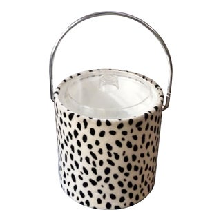 Mid Century Modern Mohair Style Fabric Covered Ice Bucket For Sale