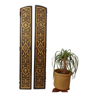Antique Leather Doors - A Pair For Sale