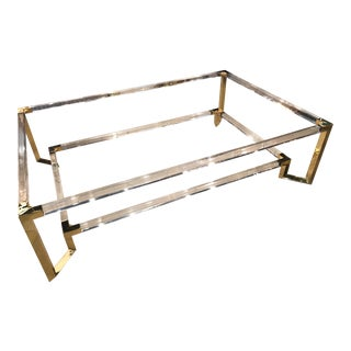 Vintage Hollywood Regency Geometric Brass and Lucite Two Tier Glass Cocktail Table For Sale