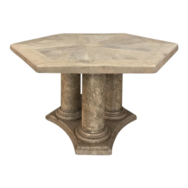 Mid-Century Neoclassical Limestone and Oak Center Table For Sale