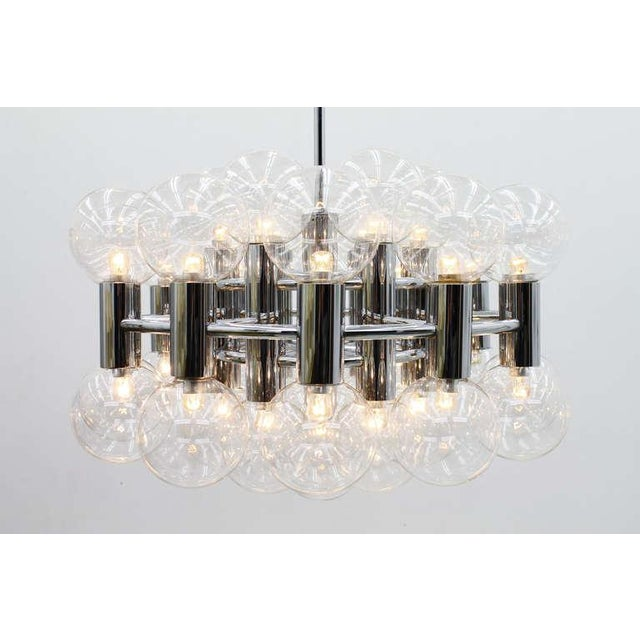 1970s Large Chrome and Glass Chandelier by Motoko Ishii for Staff, 1971 For Sale - Image 5 of 9