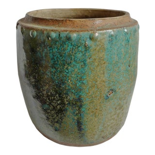 Vintage Green / Turquoise Ceramic Pot For Sale