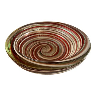 1960s Murano Candy Cane Stripe Bowl For Sale