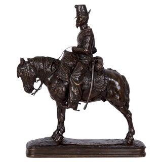 Antique French Bronze Sculpture of a Soldier on Horseback by Emmanuel Fremiet For Sale