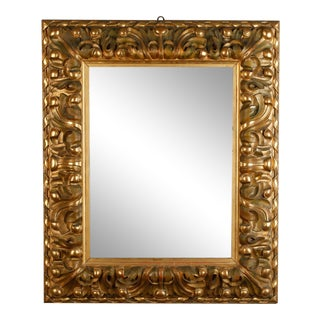 19th Century Italian Mirror with Deeply Carved Gilded Frame For Sale