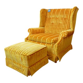 Mid Century Wingback Chair With Matching Ottoman