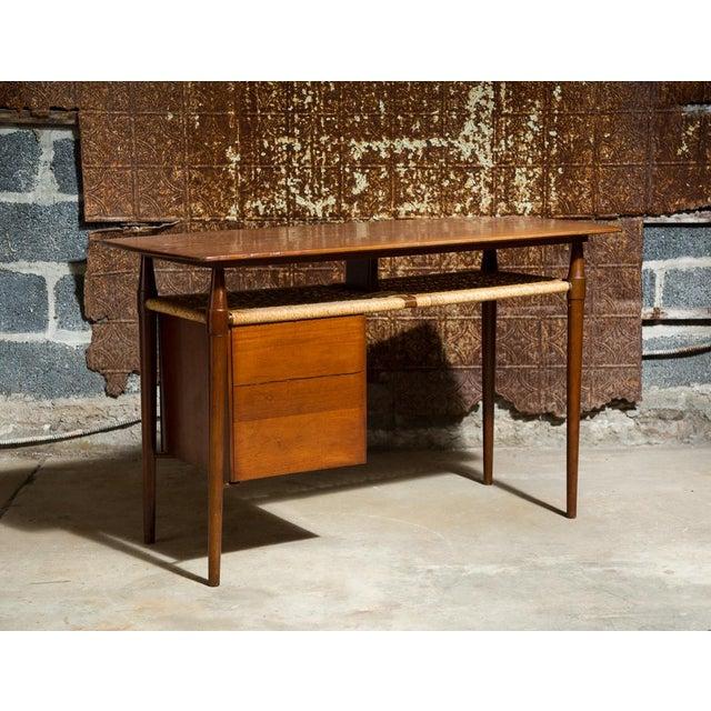Mid-Century Desk with Wicker Shelf - Image 10 of 11