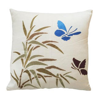 Throw Pillow Cushion Cover With Bamboo Stalk and Butterfly Motif For Sale