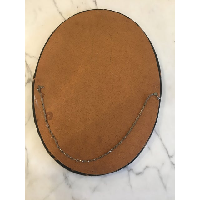 Animal Skin Brown & White Animal Cow Hide & Leather Oval Wall Mirror For Sale - Image 7 of 7