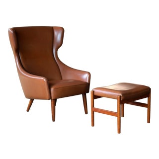Danish Midcentury Cognac Colored Highback Lounge Chair With Ottoman by Spottrup For Sale