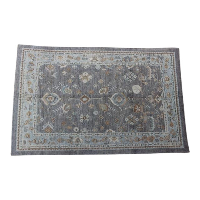 Turkish Oushak Ushak Blue & Gray Rug -7″ × 10″ For Sale