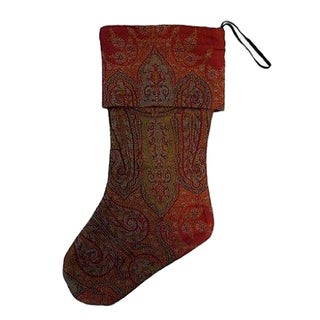 1920s Woven Paisley Christmas Stocking For Sale