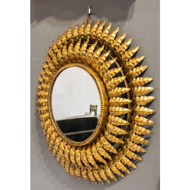 Gold French Gilt Metal Sunburst Mirror For Sale - Image 8 of 13