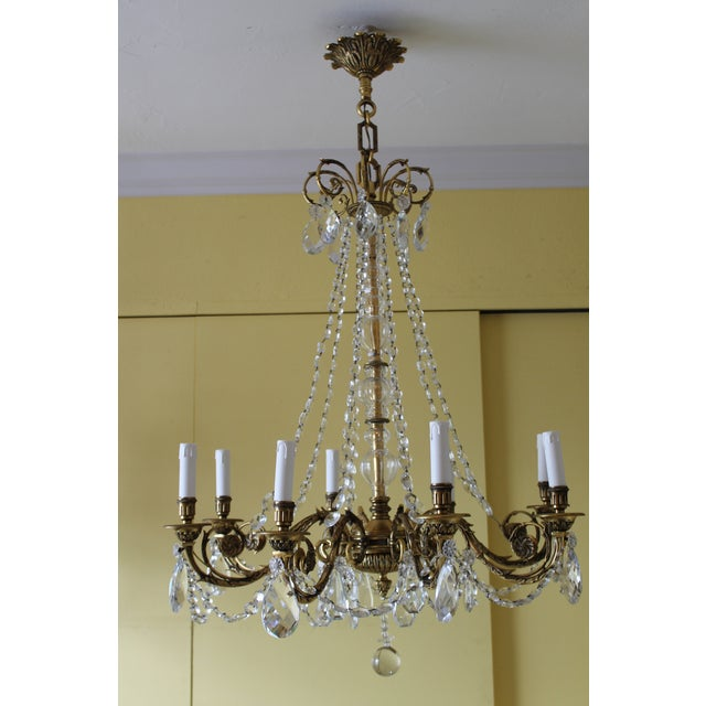19th Century Maison Bagues Palm Motif Eight Light Crystal & Bronze Chandelier = Neoclassical Style For Sale - Image 10 of 13