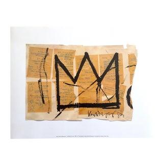 "Jean Michel Basquiat Estate Pop Art Original Fine Art Print "" the Crown "" 1982"