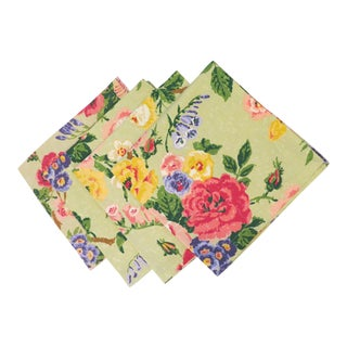 Amen Wardy Nap Honey Dew Floral Dinner Napkins - Set of 4 For Sale