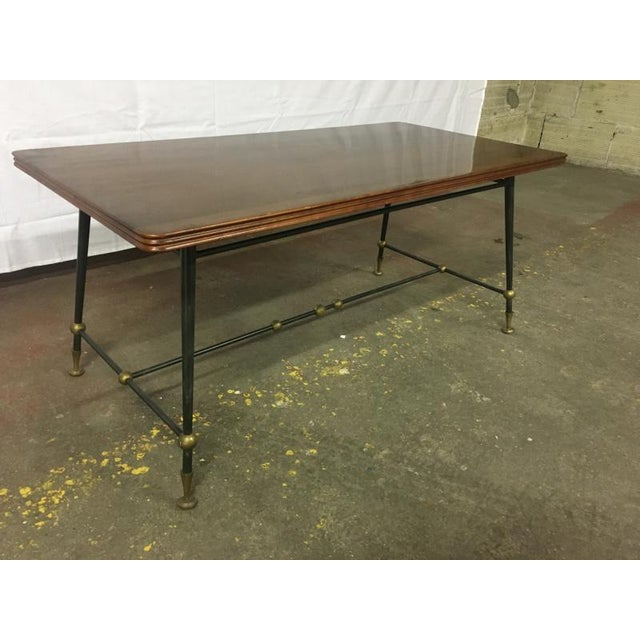 Jules Leleu Jules Leleu Stamped Coffee Table With Wrought Iron Base For Sale - Image 4 of 5