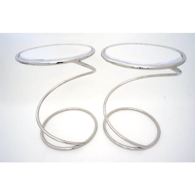 """Vintage Leon Rosen for Pace """"Spring"""" Coil Tables, Side or Drink, Nickel Plated With Lucite Tops - a Pair For Sale - Image 11 of 12"""