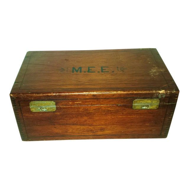 Antique Dove Tailed Wooden Cigar Humidor Box - Image 1 of 11