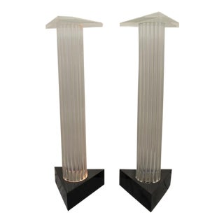 Mid-Century Lucite Pedestals - A Pair For Sale
