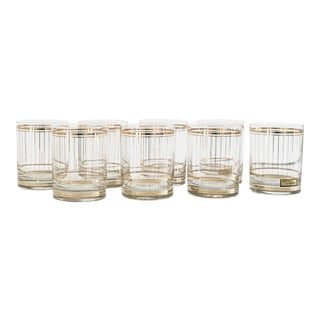 24k Gold Pinstriped Rocks Glasses - Set of 8 For Sale