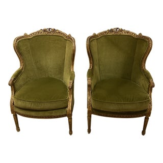 Antique French Bergere Chairs - a Pair For Sale