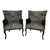 Image of Contemporary Arm Chairs Upholstered in 100% Linen Brunschwig and Fils Le Zebre With Velvet - Set of 2 For Sale