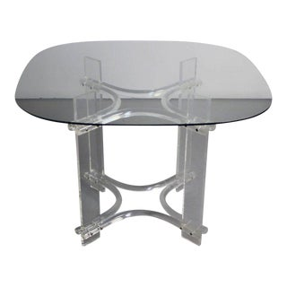 Charles Hollis Jones Lucite, Chrome & Glass Dining Table For Sale