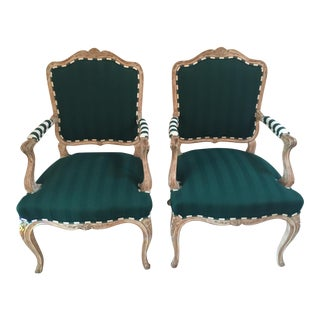 1970s Louis XVI French Bergere Club Chairs - a Pair