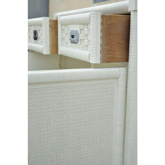 Vintage Dixie Cane Rattan Campaign Style White Tall Chest Armoire Dresser Cabinet For Sale In Philadelphia - Image 6 of 13