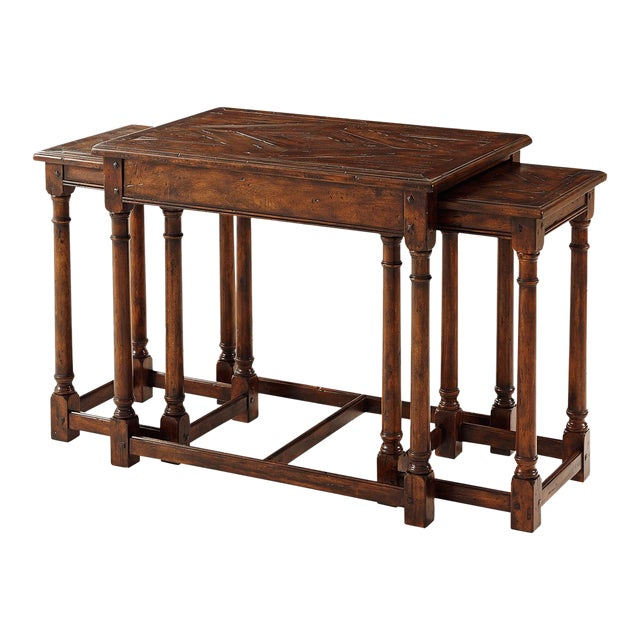 Jacobean Cherrywood Parquetry Nesting Tables - Set of 3 For Sale