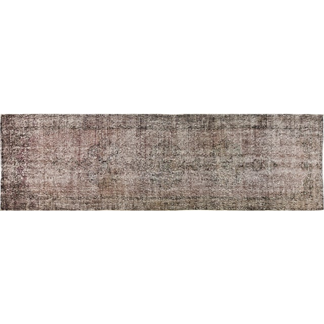 """Vintage Turkish Anatolian Whitewash Hand Knotted Organic Wool Fine Weave Rug,3'1x11'3"""" For Sale - Image 4 of 4"""