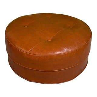 Mid Century Round Hassock or Footstool For Sale