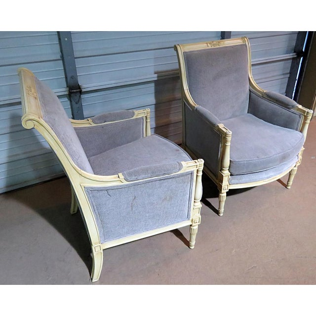 Directoire Style Upholstered Bergeres - a Pair For Sale - Image 12 of 12
