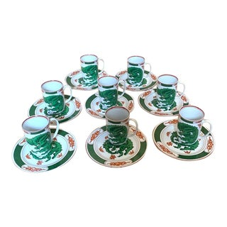 Fitz & Floyd Green Dragon Crest Set 9/9 For Sale