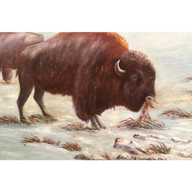 Circa 1935 J. Albert Sylvia American Buffalo Painting - Image 4 of 8